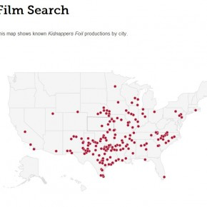 Map of known Kidnappers Foil films, on Film Search page of website